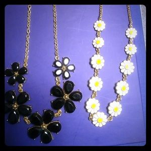 Statement Necklace Bundle Black and Flowers